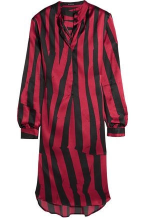 ANN DEMEULEMEESTER Striped stretch-silk satin tunic