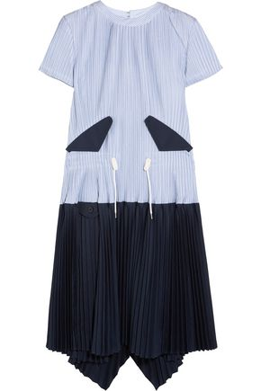 SACAI Striped plissé cotton-poplin dress