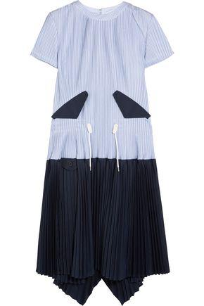 SACAI Striped plissé cotton-poplin dress