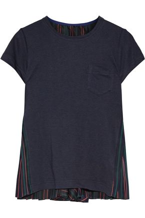 SACAI Linen-blend jersey and striped satin top