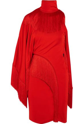 GIVENCHY One-shoulder fringed jersey turtleneck mini dress