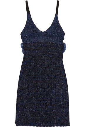 KENZO Cutout metallic knitted mini dress