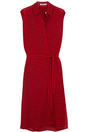 T by ALEXANDER WANG Plaid gauze wrap dress