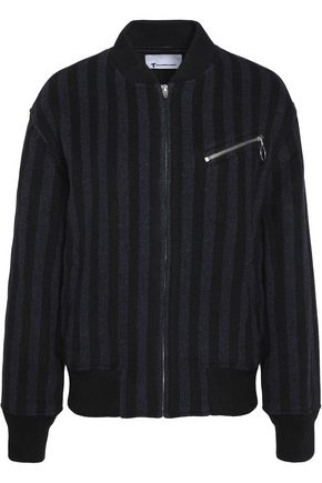 T by ALEXANDER WANG Striped wool-blend bomber jacket