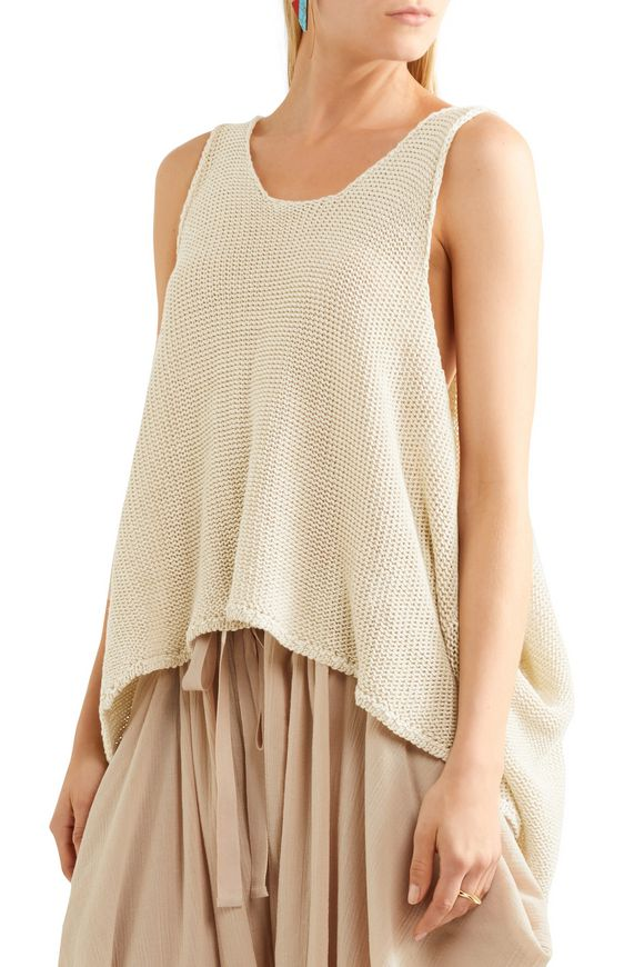 For Nice Clearance In China Stella Mccartney Woman Distressed Open-knit Linen Tank Beige Size 40 Stella McCartney Find Great Sale Online Discount Wholesale PqOMzP