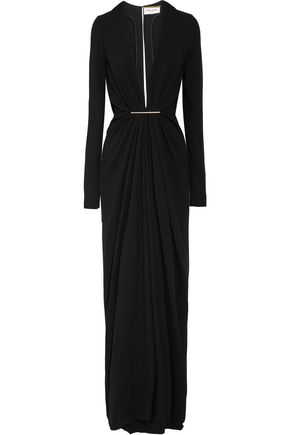 SAINT LAURENT Embellished crepe gown