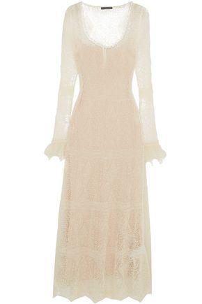ALEXANDER MCQUEEN Ruffle-trimmed Shetland wool-lace maxi dress