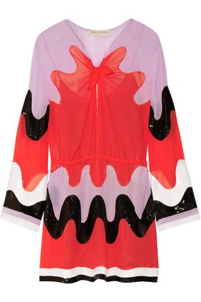 EMILIO PUCCI Color-block sequin-paneled silk-georgette mini dress