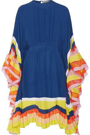 EMILIO PUCCI Ruffled chiffon-trimmed silk-georgette midi dress