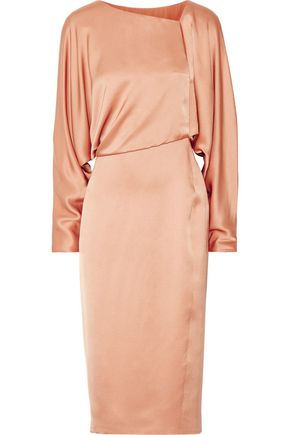 TOM FORD Draped cutout silk-satin midi dress