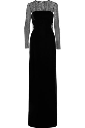 TOM FORD Convertible cutout velvet and tulle gown