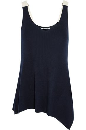 T by ALEXANDER WANG Asymmetric cotton-trimmed ribbed merino wool tank