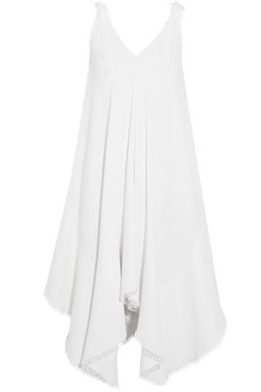 ANTONIO BERARDI Fluted fringed crepe midi dress