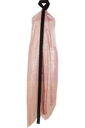 ROLAND MOURET Copernicus asymmetric satin-trimmed silk-blend lamé dress