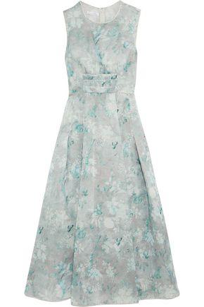 OSCAR DE LA RENTA Metallic floral-print silk-blend organza gown