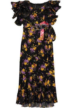 DOLCE & GABBANA Embellished ruffled printed silk-blend charmeuse midi dress