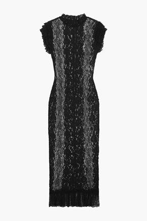 DOLCE & GABBANA Ruffled stretch-lace midi dress