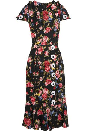 DOLCE & GABBANA Floral-print silk-blend charmeuse dress