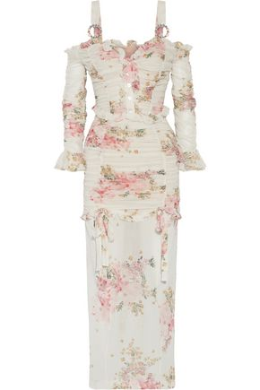 ALESSANDRA RICH Ruched floral-print stretch-silk maxi dress