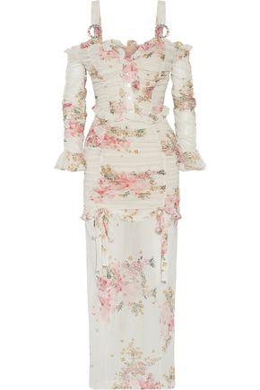 ALESSANDRA RICH Ruched floral-print stretch-silk maxi dress