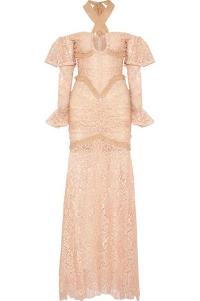 ALESSANDRA RICH Silk chiffon-trimmed cotton-blend lace halterneck gown