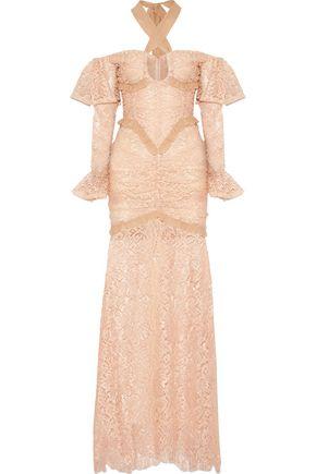 ALESSANDRA RICH Silk chiffon-trimmed cotton-blend lace halterneck gown