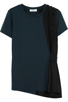 JIL SANDER Cotton-jersey and pleated crepe T-shirt