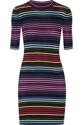 MARC JACOBS Striped ribbed cotton mini dress