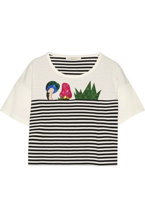 MARC JACOBS Embellished striped cotton-jersey T-shirt