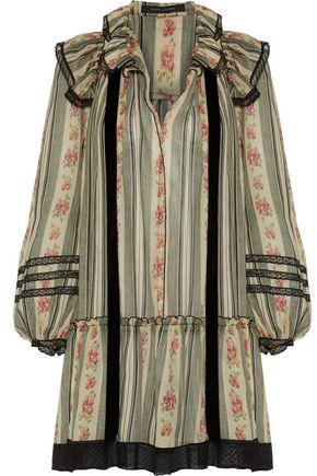 MARC JACOBS Point d'esprit-trimmed printed cotton and silk-blend gauze mini dress