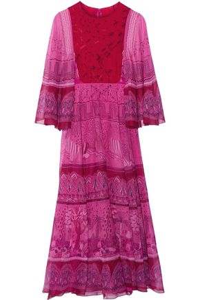 VALENTINO Printed silk-chiffon maxi dress