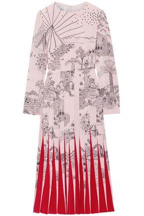 VALENTINO Pleated printed silk crepe de chine midi dress