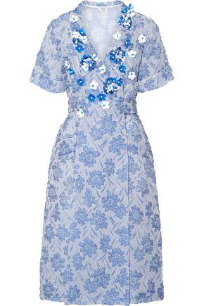 MIU MIU Floral-appliquéd silk-blend cloqué wrap dress