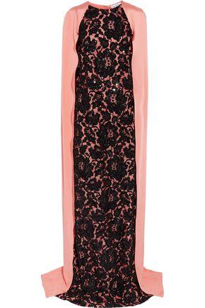 OSCAR DE LA RENTA Draped beaded lace and silk gown