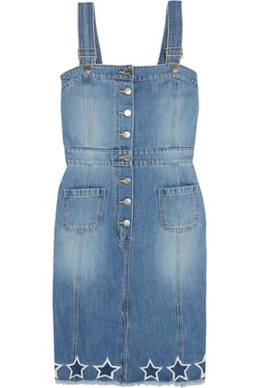 SJYP Embroidered cutout denim dress