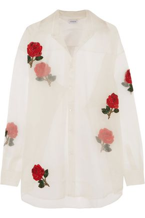 ASHISH Embellished appliquéd silk-organza shirt