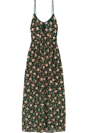 ASHISH Embellished embroidered silk-georgette maxi dress