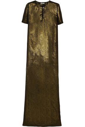 LANVIN Embellished metallic silk gown