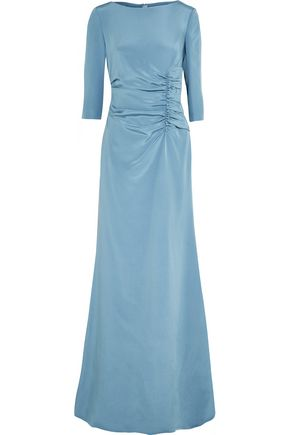 OSCAR DE LA RENTA Ruched silk-satin gown