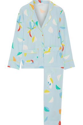 MIRA MIKATI Printed silk crepe de chine shirt and pants set