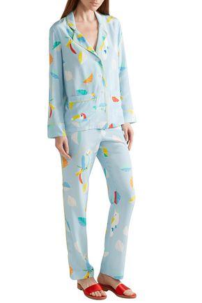 MIRA MIKATI Printed silk crepe de chine shirt and pants set