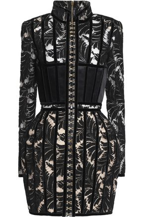 BALMAIN Velvet-trimmed wool-blend lace mini dress