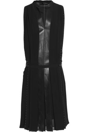 BELSTAFF Ashley leather-trimmed studded silk-crepe dress