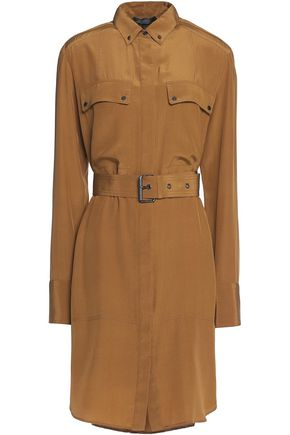 BELSTAFF Langton belted cotton and linen-blend poplin shirt dress