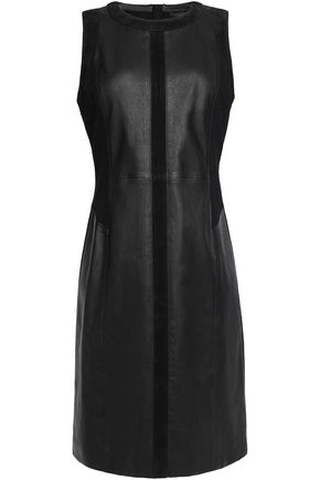 BELSTAFF Farcet suede-trimmed paneled leather mini dress