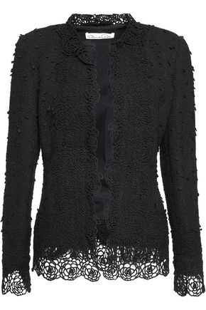 OSCAR DE LA RENTA Macramé lace-trimmed cotton-blend bouclé jacket