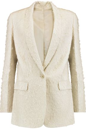 HELMUT LANG Shawl collar distressed silk-blend blazer