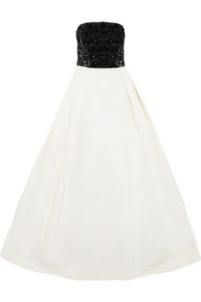 OSCAR DE LA RENTA Embellished metallic silk and cotton-blend fil-coupé and silk-twill gown