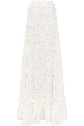 LANVIN Strapless grosgrain-trimmed guipure lace gown