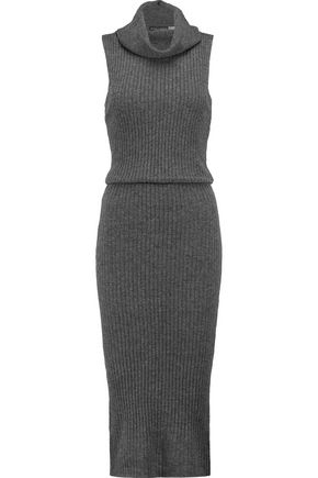 ALICE + OLIVIA Arra ribbed-knit wool and cashmere-blend turtleneck midi dress